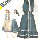 Gunne Sax Skirt Vest Blouse Sewing Pattern 10 Rockabilly Square Dance Country Cowgirl Ruffle 5191