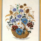 Dimensions Crewel Embroidery Kit Pansies Wildflowers 1984 Bouquet Flowers Basket 16 x 20