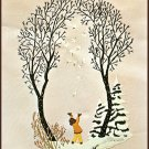 Winter Wonderland Crewel Embroidery Kit Stamped Bucilla Vintage Trees Snow Birds Child 22 x 28