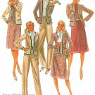 80s Wardrobe Sewing Pattern Plus 16 1/2 Pantsuit Jacket Gored Skirt Ascot Tie Blouse 7749
