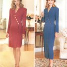 Wrap Front Dress Sewing Pattern Plus 18-22 Long Sleeve Button Front Above Below Knee 4142