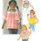 Girls Handkerchief Top 6 6X Easy Vintage Pullover Angel Butterfly Sleeve Tie Shoulder 8091
