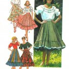 Full Ruffle Square Dance Skirt Peasant Blouse Sz 14 Top Boho Gypsy Vintage German 7842