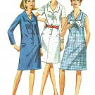 Vintage Shift Dress Sewing Pattern 20 1/2 Plus Button Step In Long Short Sleeve Sleeveless 7449