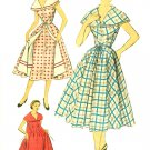 Advance Sewing Pattern Wrap Dress Housecoat Sz 14 16 Overskirt 1950s Sleeveless Bertha Collar 6144