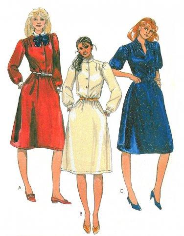 Belted Dress Sewing Pattern 80s Disco 16 Button Short Long Sleeve Mandarin Collar Knee Length 7745