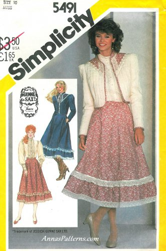 Western Square Dance Skirt Blouse Sewing Pattern Sz 10 Quilted Jacket Gunne Sax 5491