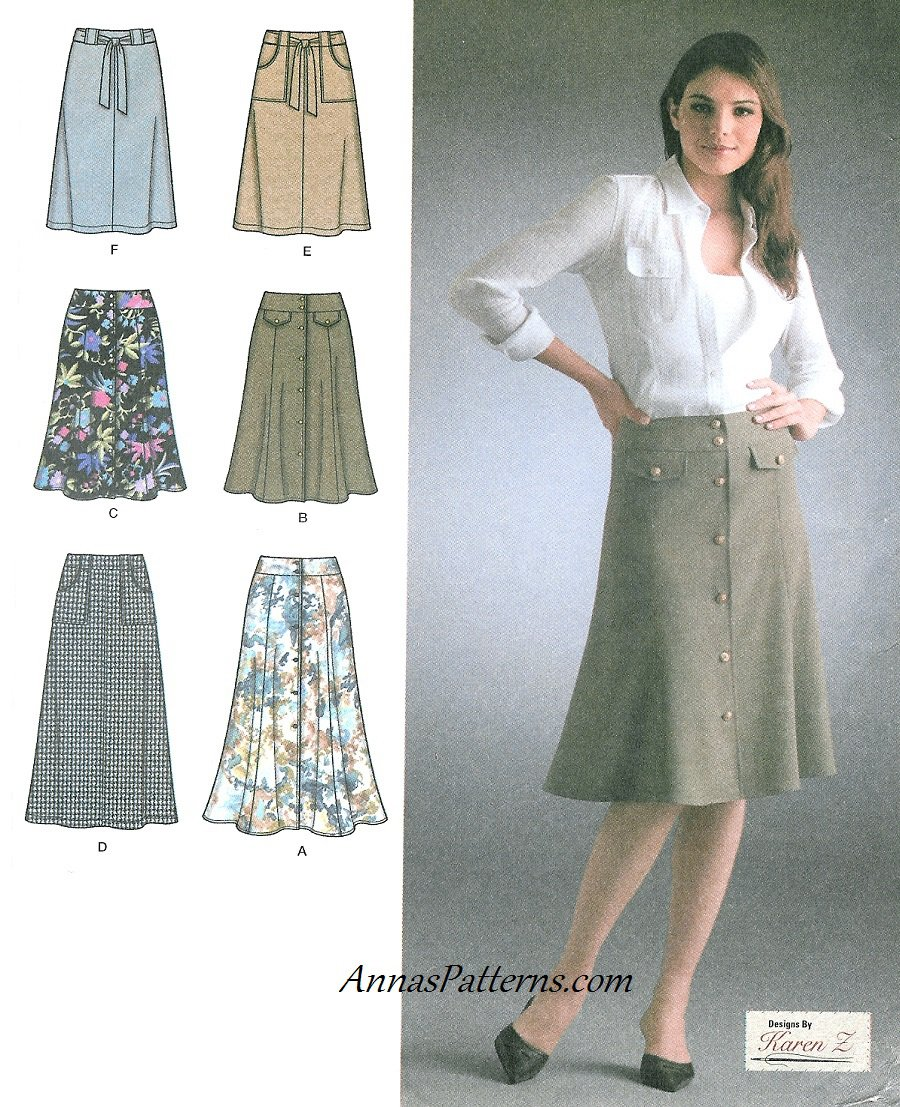 a line flared skirt sewing pattern 12 20 belted button