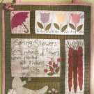 Spring Showers Quilt Block Wall Hanging Sewing Pattern Flower Carrots Tulip Umbrella 5077