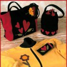 Heart Applique Sewing Pattern Crow Tote Handbag Jacket Eyeglass Case