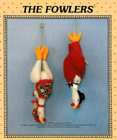 Chicken Sewing Pattern Fowlers Rooster Hen Plush Stuffed Country Farm Barn Toy