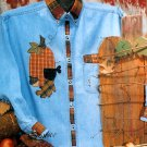 Autumn Pumpkin Applique Sewing Pattern Acorn Bird Fall Leaf Halloween Denim Shirt