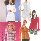 Misses Button Front Shirt Sewing Pattern 8-14 Princess Seams Bell Sleeve Tunic Dress Blouse 3340