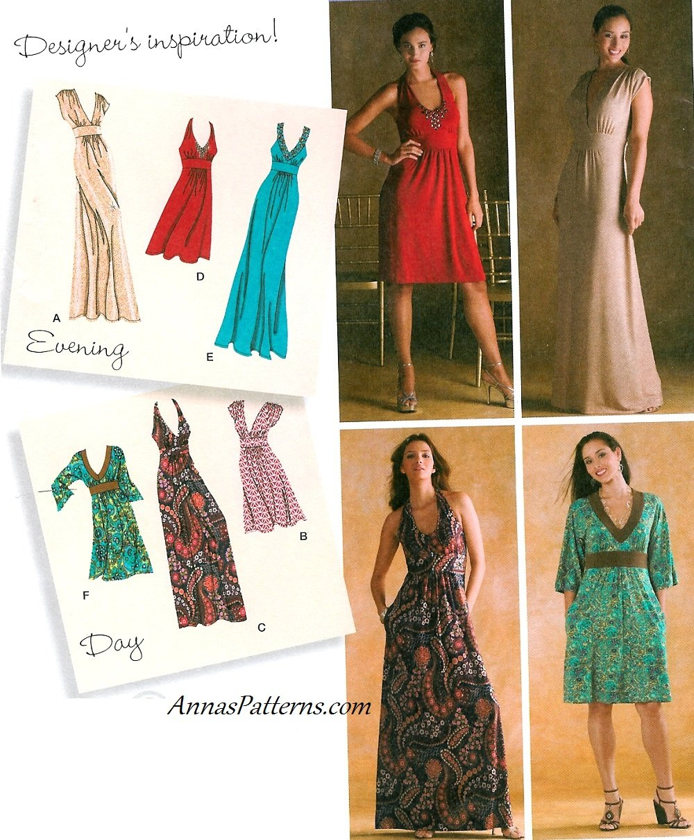 Plunge Neckline Formal Dress Sewing Pattern Maxi Boho
