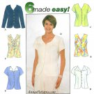 Button Front Blouse Shirt Sewing Pattern 12-16 Darted V-neck Long Short Cap Sleeve 8041