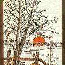 Autumn Tree Crewel Embroidery Kit 5 x 7 Dimensions Fence Pumpkin Corn Field Sunset Black Bird