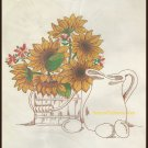 Bucilla Country Morning Crewel Embroidery Kit 18 x 24 Linen Sunflower Pitcher Eggs Needlepoint