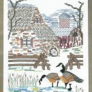 Barnyard Goose Stamped Cross Stitch Kit Sampler Farm Barn Winter Scene Linen 10 x 12