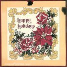 Happy Holidays Cross Stitch Kit Floral Picture 14 x 14 Aida Christmas Crafts