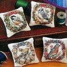 Seasonal Bird Pin Cushion Cross Stitch Kit Set 4 18 Ct Aida 3.5 x 3.5 Janlynn
