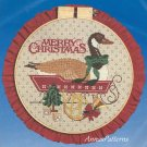 Goose Christmas Hoop Cross Stitch Kit Vintage 12 Inch French Horn Country Rustic Cabin Decor