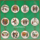 Charles Wysocki Christmas Ornaments Cross Stitch Kit Yuletide Village Snowman Caroler Sleigh Skate
