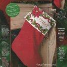 Bucilla Poinsettia Berries Christmas Stocking Kit Cross Stitch 18 Inch Red Velvet