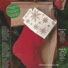 Bucilla Snowflakes Christmas Stocking Kit Cross Stitch 18 Inch Red Velvet