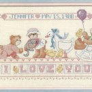I Love You Birth Record Cross Stitch Kit Dimensions Teddy Bear Baby Stork 18 x 8