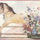 Antique Hobby Rocking Horse Stamped Cross Stitch Kit Flowers 16 x 12 Dimensions