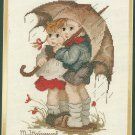 Hummel Stormy Weather Cross Stitch Kit Umbrella Rain Children 12 x 14