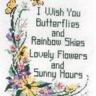 I Wish You Butterflies Rainbow Skies Stamped Cross Stitch Kit 11 x 14 Patty Ann