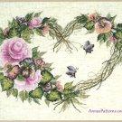 Bucilla Grapevine Heart Wreath Floral Cross Stitch Kit Aida Pink Purple 14 x 11