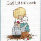 God's Little Lamb Cross Stitch Kit Boy Hugging Aqua Mat 8 x 10 Designs For The Needle