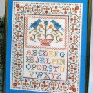 ABC Sampler Stamped Cross Stitch Bird Bath Flowers Blue Rust Green Brown Vogart Vintage 11 x 14