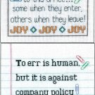 Office Memo Humor Cross Stitch Everyone Brings Joy Company Policy
