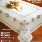 Desert Flower Embroidery Kit Tablecloth Napkins Coral Red Jade Southwest Native