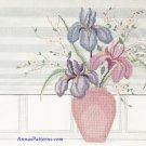 Iris Vase Cross Stitch Kit Flowers Window Pink Purple Green Printed Aida 18 x 14