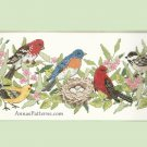 Garden Birds Stamped Cross Stitch Kit Warbler Grosbeak Bluebird Scarlet Chickadee Sunset