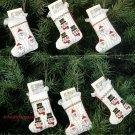 Bucilla Stockingettes Christmas Heirloom Stocking Cross Stitch Ornaments Kit Santa Snowmen Set 6