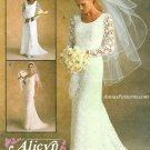 Lace Overlay Wedding Dress Gown Sewing Pattern 18 Classic Slim Fit Round Neck 9133