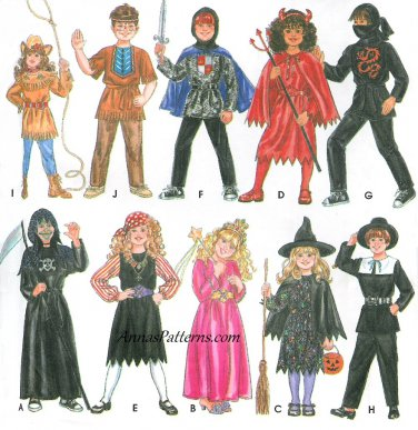 Boy Girl Costume Sewing Pattern 3-8 Cowgirl Indian Knight Devil Ninja Pirate Witch Pilgrim 9698
