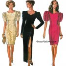 Sexy Fitted Dress Sewing Pattern 8-18 Evening Formal Puff Sleeve Knee Ankle Length 6154