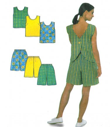 Sleeveless Top Shorts Sewing Pattern Easy 10-20 Butterfly Button 8203