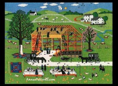 Amish Barn Raising 1985 Crewel Embroidery Kit Charles Wysocki Dimension 22 x 18