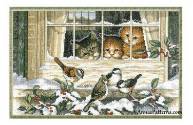 Three Bird Watchers Cross Stitch Kit Dimensions Cats Window 1997 Aida 18 x 13