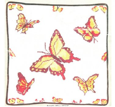 Butterfly Needlework Pillow Kit Vintage Tapestrations Persian Yarn 15 x 15 Canvas