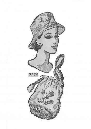 Vintage Cloche Pillbox Hat Sewing Pattern 60s Retro Mod Drawstring Bag NY Mail Order