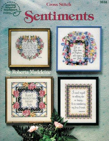 Sentiments Cross Stitch Pattern Design Life Nature Memories Lords Prayer Faith Friends