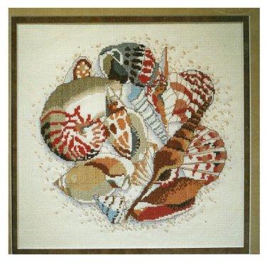 Sea Shells Beaded Cross Stitch Kit 12 x 12 Natures Window Ocean Beach Nautical Coastal